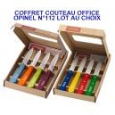 COFFRET LOT DE 4 COUTEAUX OFFICE OPINEL N°112 LAME LISSE INOX