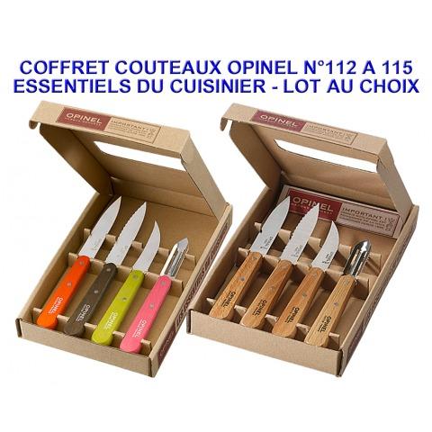 OPINEL COFFRET 4 COUTEAUX ESSENTIELS CUISINIER N112-115 INOX 958/958.P