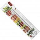 TRIANGLE SET 4 PIQUES A BROCHETTES INOX 30 CM EQUIPEMENT BARBECUE VIANDE FRUITS